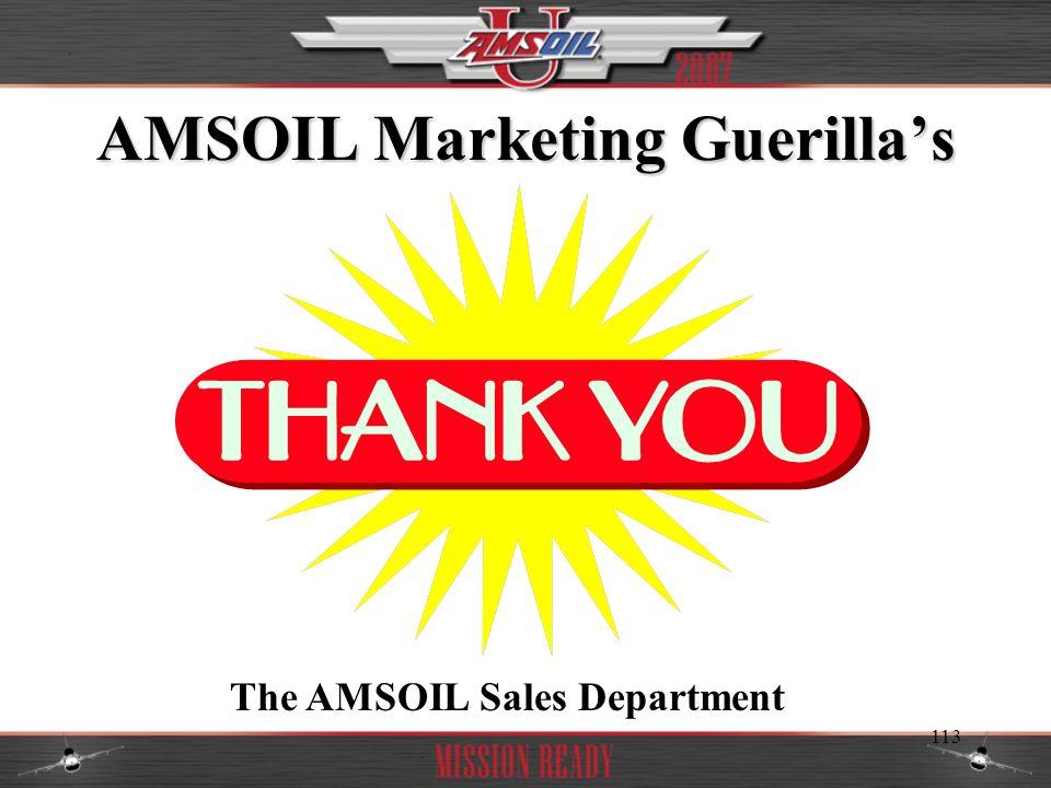 113 AMSOIL Marketing Guerillas The AMSOIL Sales Department