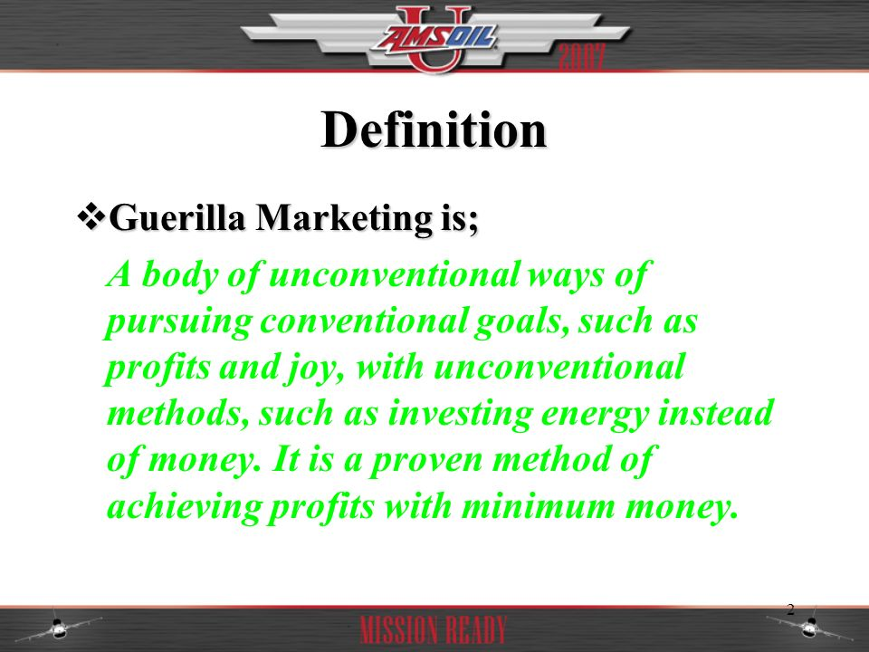 3 Course Outline Traits Of AMSOIL Guerilla Marketers Traits Of AMSOIL Guerilla Marketers Patience Patience Aggressiveness Aggressiveness Imagination Imagination Sensitivity Sensitivity Ego Strength Ego Strength Basic Training For AMSOIL Guerilla Marketers Basic Training For AMSOIL Guerilla Marketers AMSOIL Dealer Tactics To Consider AMSOIL Dealer Tactics To Consider Direct Marketing AMSOIL Dealer Style Direct Marketing AMSOIL Dealer Style Marketing Myths Marketing Myths