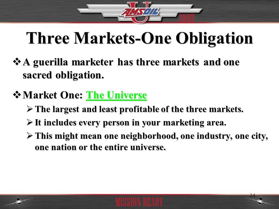 34 Three Markets-One Obligation A guerilla marketer has three markets and one sacred obligation. A guerilla marketer has three markets and one sacred
