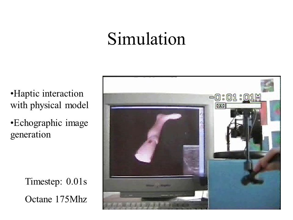 Simulation Haptic interaction with physical model Echographic image generation Timestep: 0.01s Octane 175Mhz