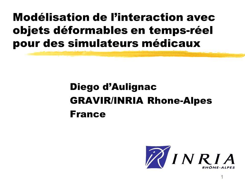 1 Modélisation de linteraction avec objets déformables en temps-réel pour des simulateurs médicaux Diego dAulignac GRAVIR/INRIA Rhone-Alpes France
