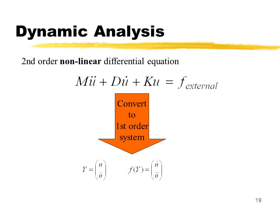 19 Dynamic Analysis 2nd order non-linear differential equation Convert to 1st order system