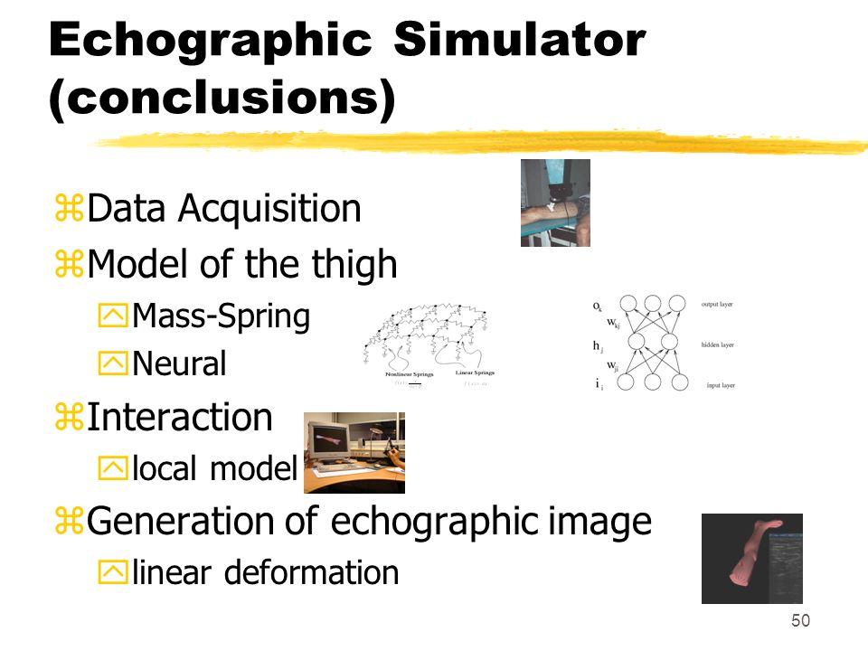 50 Echographic Simulator (conclusions) zData Acquisition zModel of the thigh yMass-Spring yNeural zInteraction ylocal model zGeneration of echographic