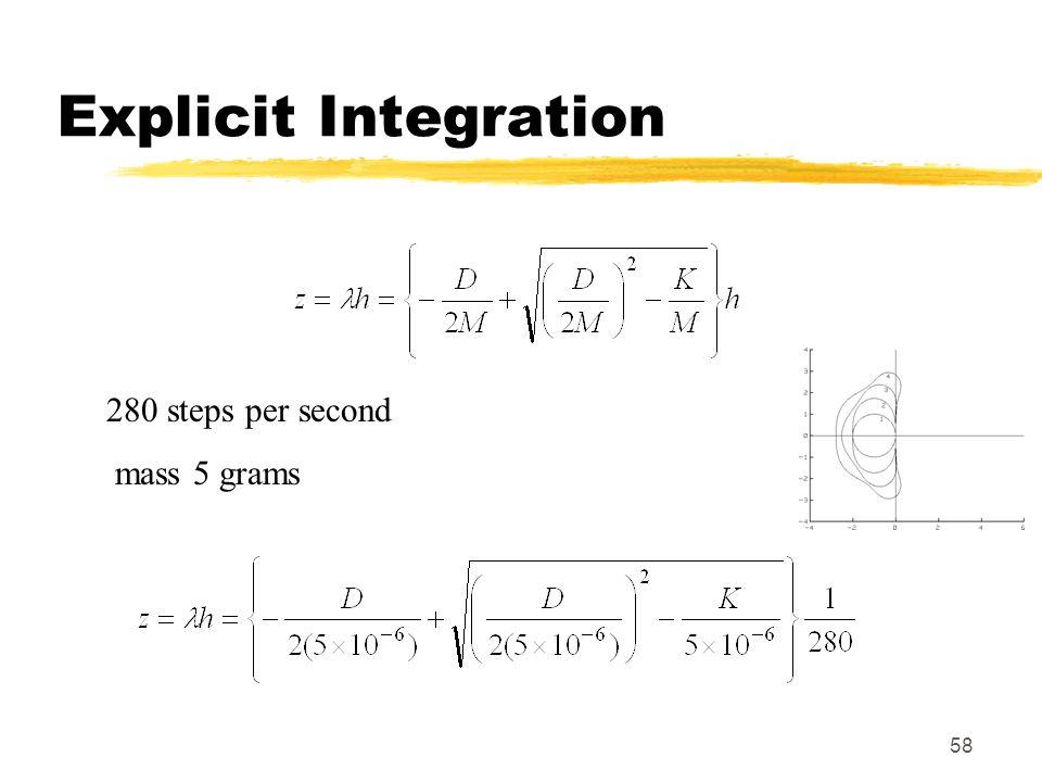 58 Explicit Integration 280 steps per second mass 5 grams