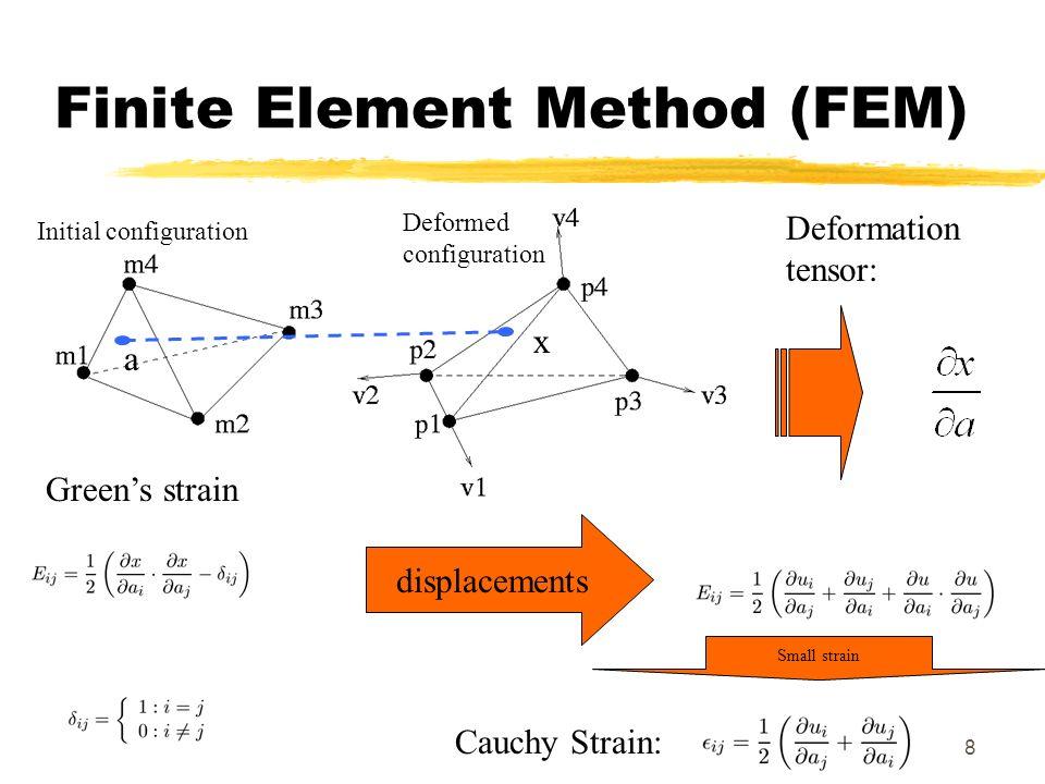 8 Finite Element Method (FEM) displacements Small strain Greens strain Cauchy Strain: Deformation tensor: Initial configuration Deformed configuration