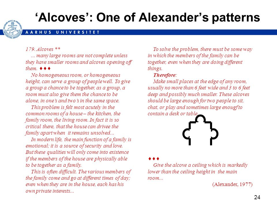 24 Alcoves: One of Alexanders patterns 179. Alcoves **... many large rooms are not complete unless they have smaller rooms and alcoves opening off the