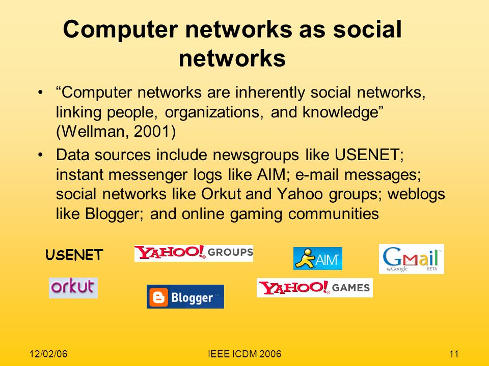 12/02/06IEEE ICDM 200611 Computer networks as social networks Computer networks are inherently social networks, linking people, organizations, and kno