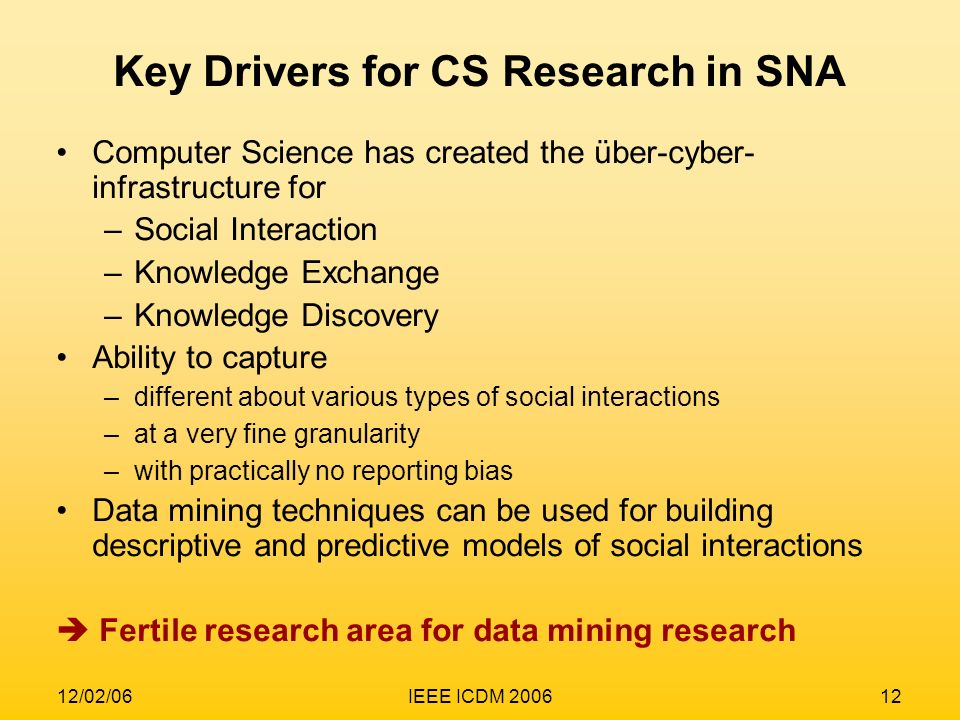 12/02/06IEEE ICDM 200612 Key Drivers for CS Research in SNA Computer Science has created the über-cyber- infrastructure for –Social Interaction –Knowl