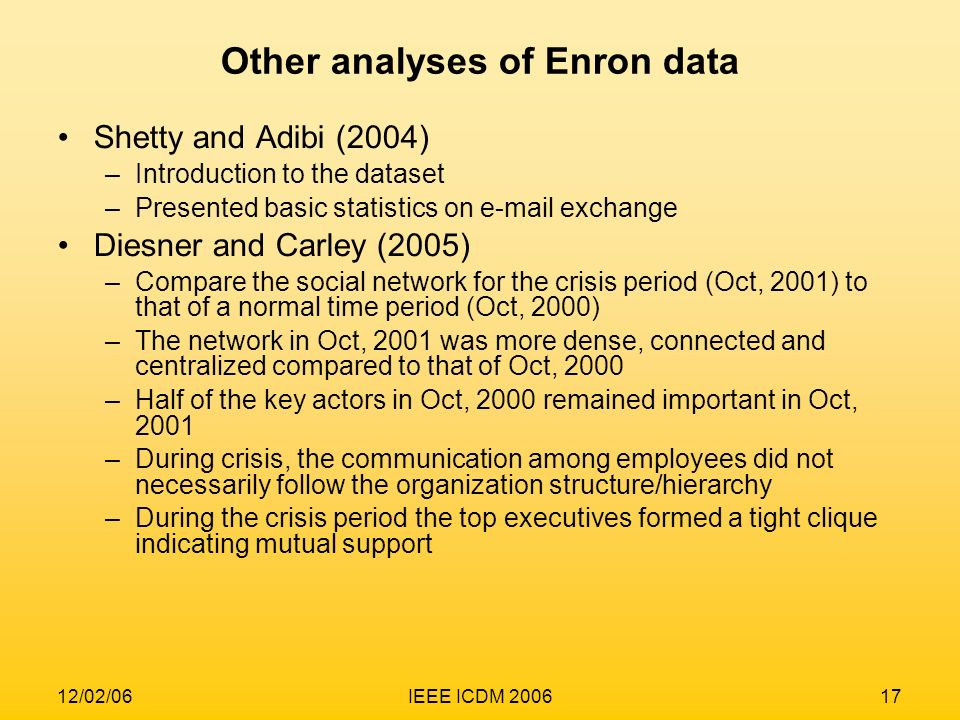 12/02/06IEEE ICDM 200617 Other analyses of Enron data Shetty and Adibi (2004) –Introduction to the dataset –Presented basic statistics on e-mail excha
