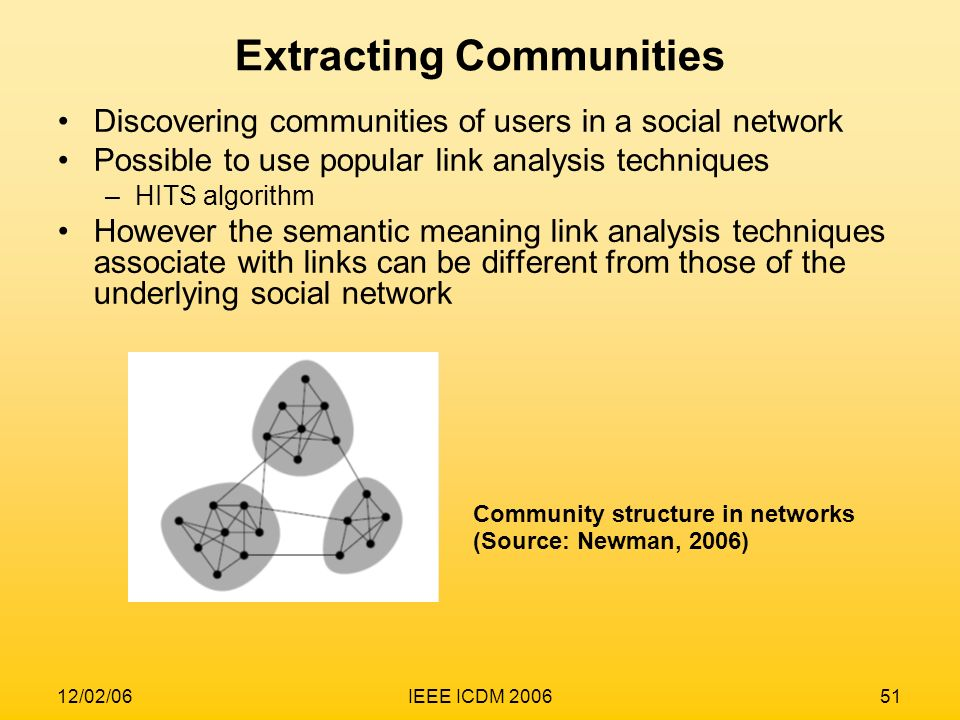 12/02/06IEEE ICDM 200651 Extracting Communities Discovering communities of users in a social network Possible to use popular link analysis techniques