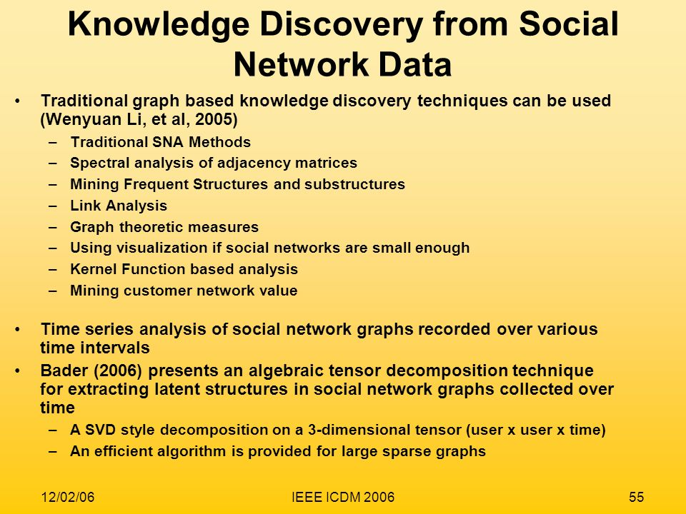 12/02/06IEEE ICDM 200655 Knowledge Discovery from Social Network Data Traditional graph based knowledge discovery techniques can be used (Wenyuan Li,