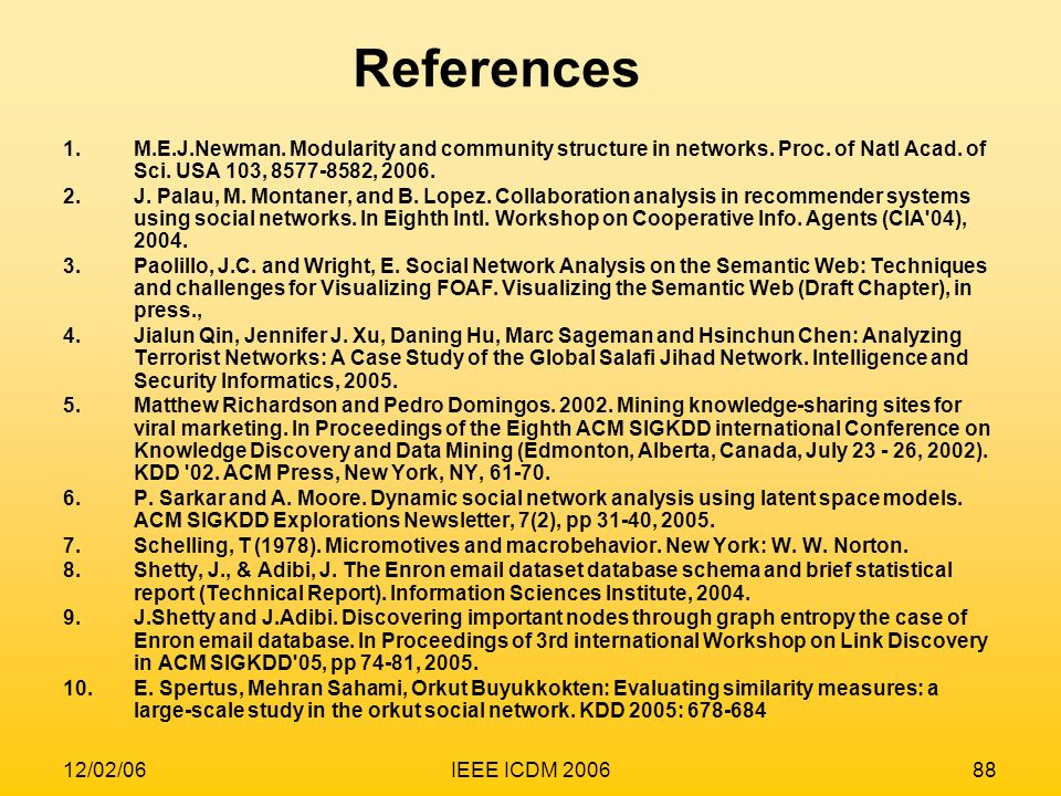 12/02/06IEEE ICDM 200688 1.M.E.J.Newman. Modularity and community structure in networks. Proc. of Natl Acad. of Sci. USA 103, 8577-8582, 2006. 2.J. Pa