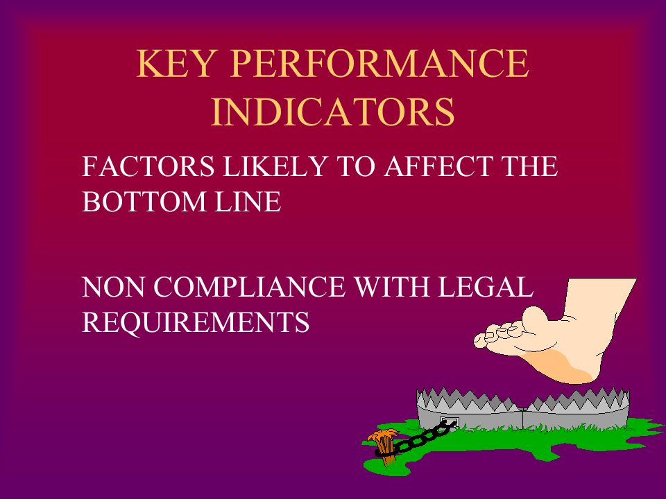 KEY PERFORMANCE INDICATORS FACTORS LIKELY TO AFFECT THE BOTTOM LINE NON COMPLIANCE WITH LEGAL REQUIREMENTS