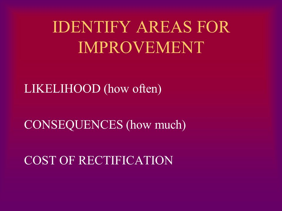 IDENTIFY AREAS FOR IMPROVEMENT LIKELIHOOD (how often) CONSEQUENCES (how much) COST OF RECTIFICATION