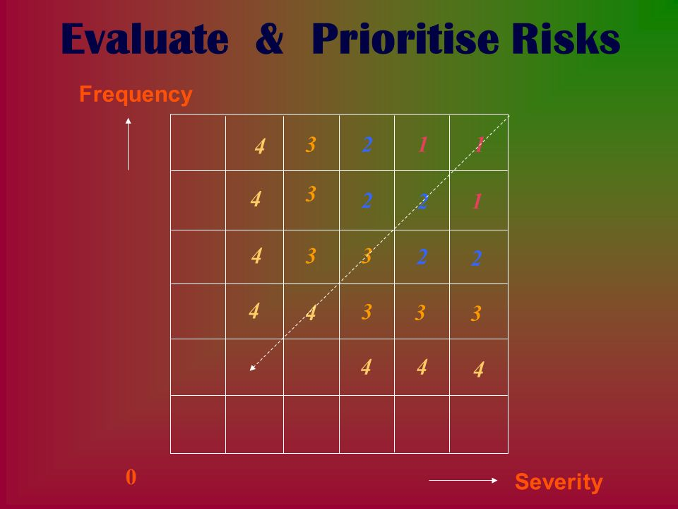 Evaluate & Prioritise Risks 11 1 2 2 2 2 2 3 3 33 3 3 3 4 4 4 4 4 44 4 Frequency Severity 0