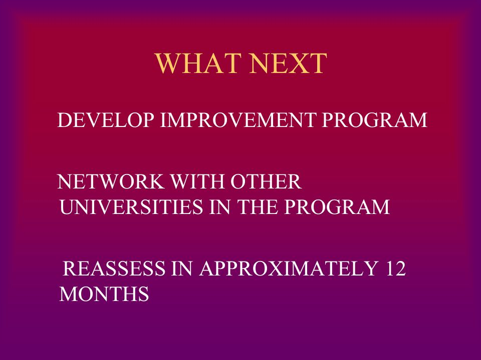 WHAT NEXT DEVELOP IMPROVEMENT PROGRAM NETWORK WITH OTHER UNIVERSITIES IN THE PROGRAM REASSESS IN APPROXIMATELY 12 MONTHS