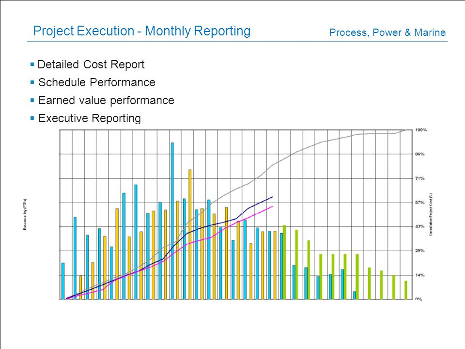 Project Execution - Monthly Reporting Detailed Cost Report Schedule Performance Earned value performance Executive Reporting Process, Power & Marine