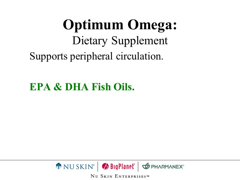 Optimum Omega: Summary Clear Gel Capsules General health and peripheral circulation Combination of fatty acids, Vitamin E and garlic.