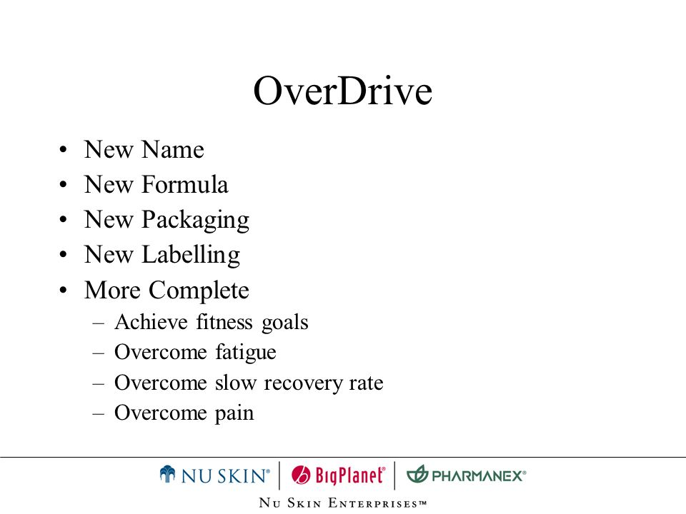 OverDrive: Before Exercise Bodys metabolic processes require vitamins & minerals for day to day activities.