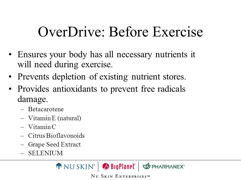 OverDrive: Summary New Formula –Selenium –Folic Acid Exercise –Before –During –After Performance and Recovery
