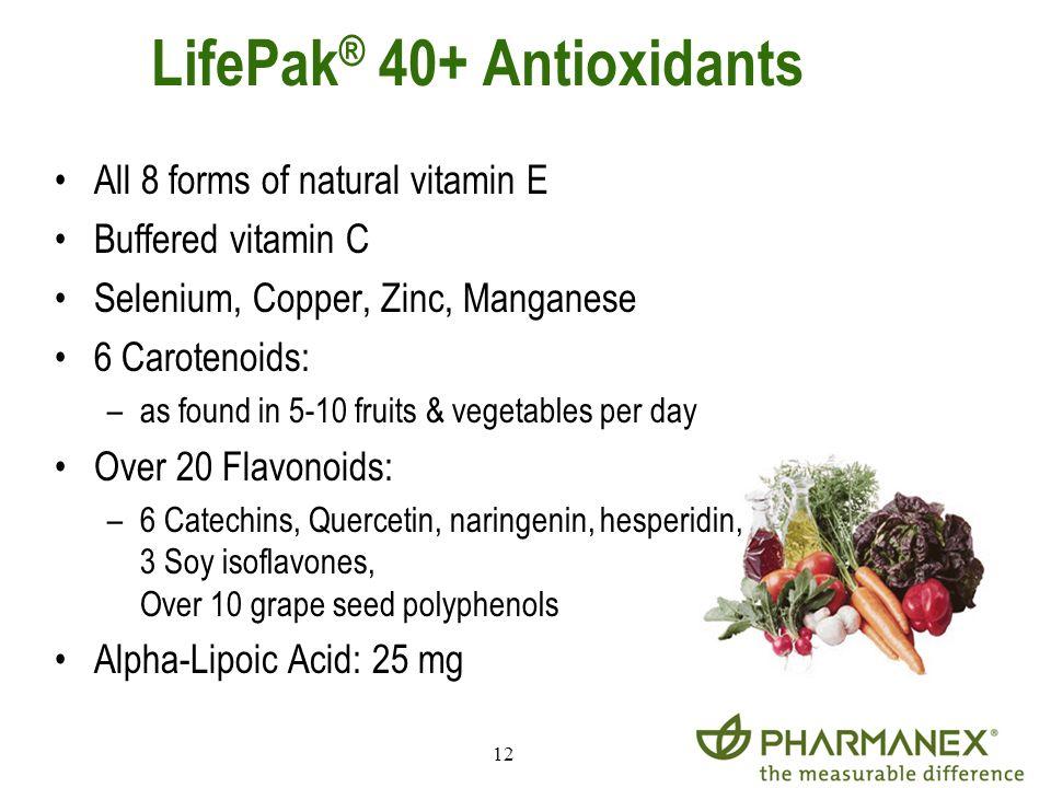 12 LifePak ® 40+ Antioxidants All 8 forms of natural vitamin E Buffered vitamin C Selenium, Copper, Zinc, Manganese 6 Carotenoids: –as found in 5-10 f
