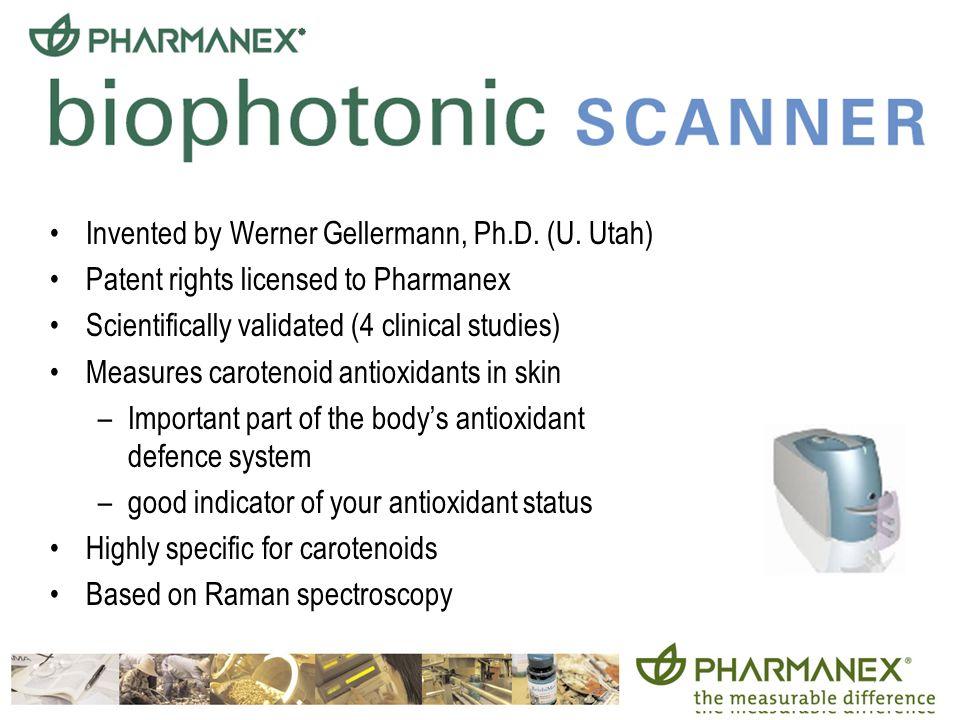 22 Invented by Werner Gellermann, Ph.D. (U. Utah) Patent rights licensed to Pharmanex Scientifically validated (4 clinical studies) Measures carotenoi