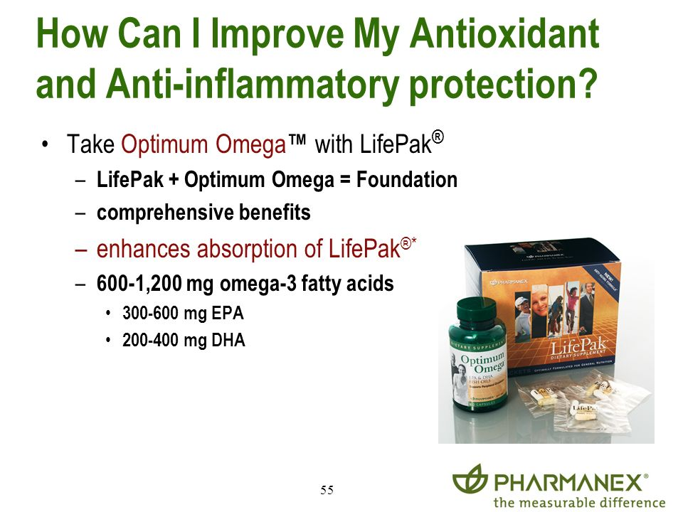 55 How Can I Improve My Antioxidant and Anti-inflammatory protection? Take Optimum Omega with LifePak ® – LifePak + Optimum Omega = Foundation – compr