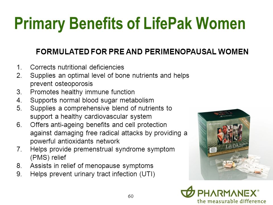 60 Primary Benefits of LifePak Women FORMULATED FOR PRE AND PERIMENOPAUSAL WOMEN 1.Corrects nutritional deficiencies 2.Supplies an optimal level of bo
