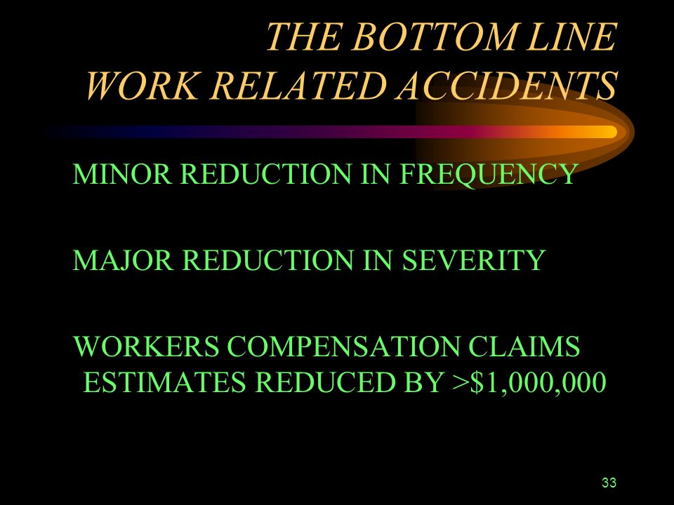 33 THE BOTTOM LINE WORK RELATED ACCIDENTS MINOR REDUCTION IN FREQUENCY MAJOR REDUCTION IN SEVERITY WORKERS COMPENSATION CLAIMS ESTIMATES REDUCED BY >$1,000,000
