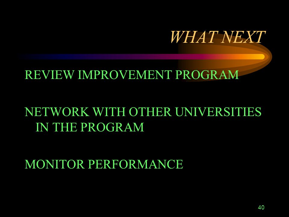 40 WHAT NEXT REVIEW IMPROVEMENT PROGRAM NETWORK WITH OTHER UNIVERSITIES IN THE PROGRAM MONITOR PERFORMANCE