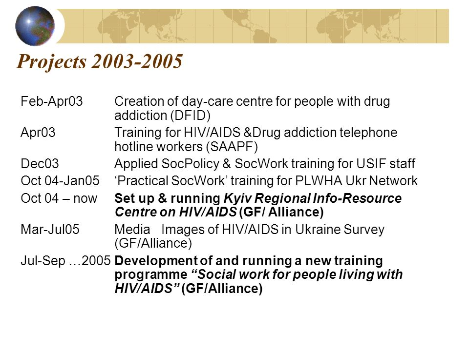 Projects 2003-2005 Feb-Apr03Creation of day-care centre for people with drug addiction (DFID) Apr03Training for HIV/AIDS &Drug addiction telephone hotline workers (SAAPF) Dec03Applied SocPolicy & SocWork training for USIF staff Oct 04-Jan05Practical SocWork training for PLWHA Ukr Network Oct 04 – nowSet up & running Kyiv Regional Info-Resource Centre on HIV/AIDS (GF/ Alliance) Mar-Jul05MediaImages of HIV/AIDS in Ukraine Survey (GF/Alliance) Jul-Sep …2005Development of and running a new training programme Social work for people living with HIV/AIDS (GF/Alliance)