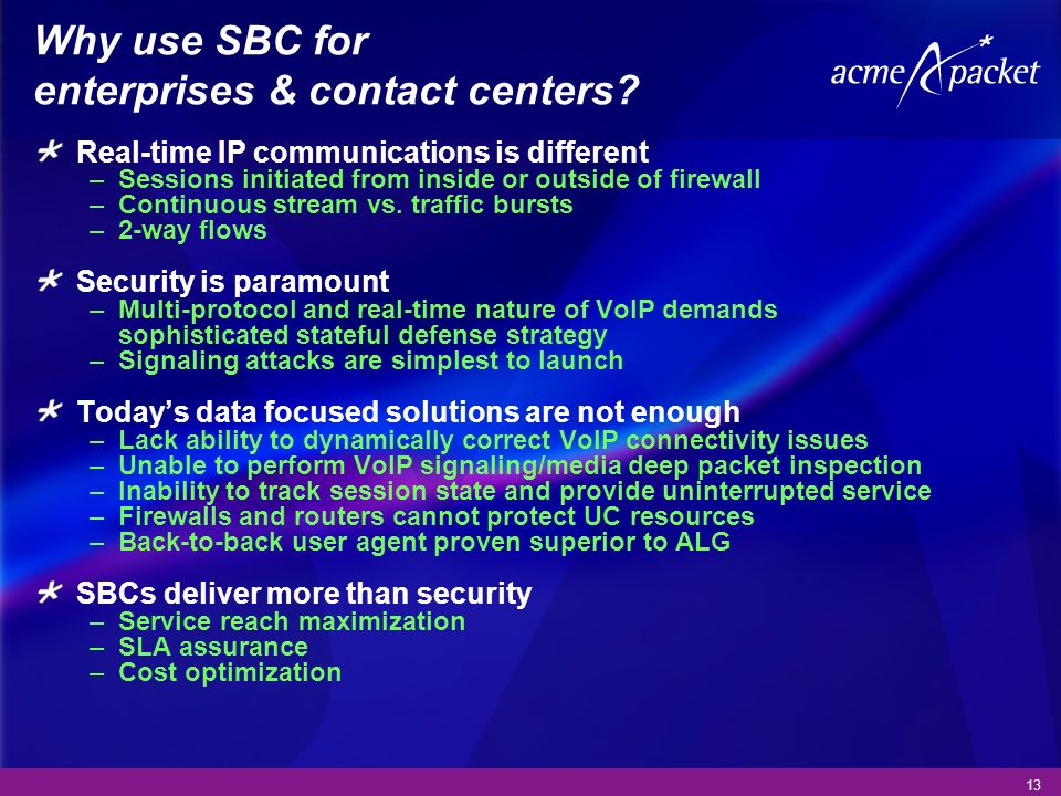 13 Why use SBC for enterprises & contact centers? Real-time IP communications is different –Sessions initiated from inside or outside of firewall –Con