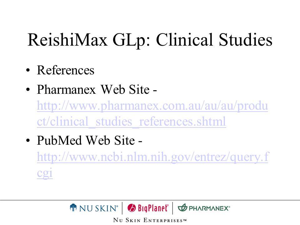 ReishiMax GLp: Clinical Studies References Pharmanex Web Site - http://www.pharmanex.com.au/au/au/produ ct/clinical_studies_references.shtml http://ww