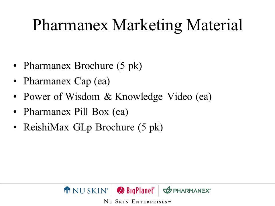 Pharmanex Marketing Material Pharmanex Brochure (5 pk) Pharmanex Cap (ea) Power of Wisdom & Knowledge Video (ea) Pharmanex Pill Box (ea) ReishiMax GLp