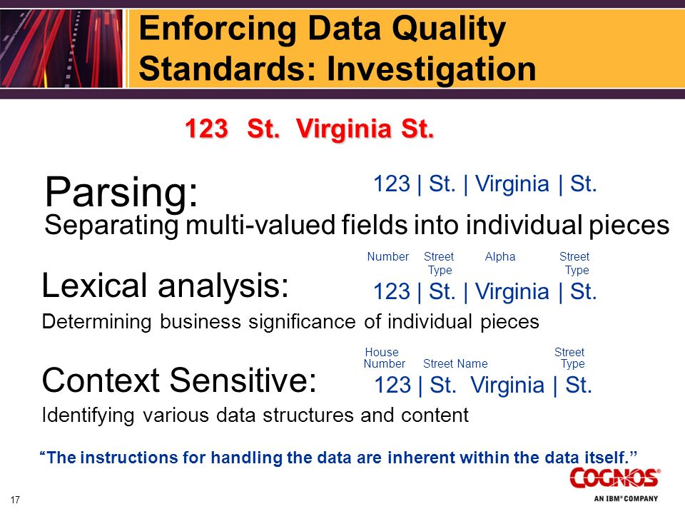 Enforcing Data Quality Standards: Investigation Parsing: Separating multi-valued fields into individual pieces 123 | St.