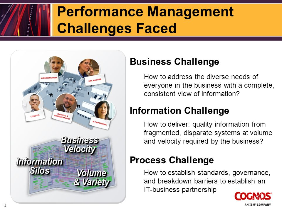 Performance Management Challenges Faced How to deliver: quality information from fragmented, disparate systems at volume and velocity required by the business.