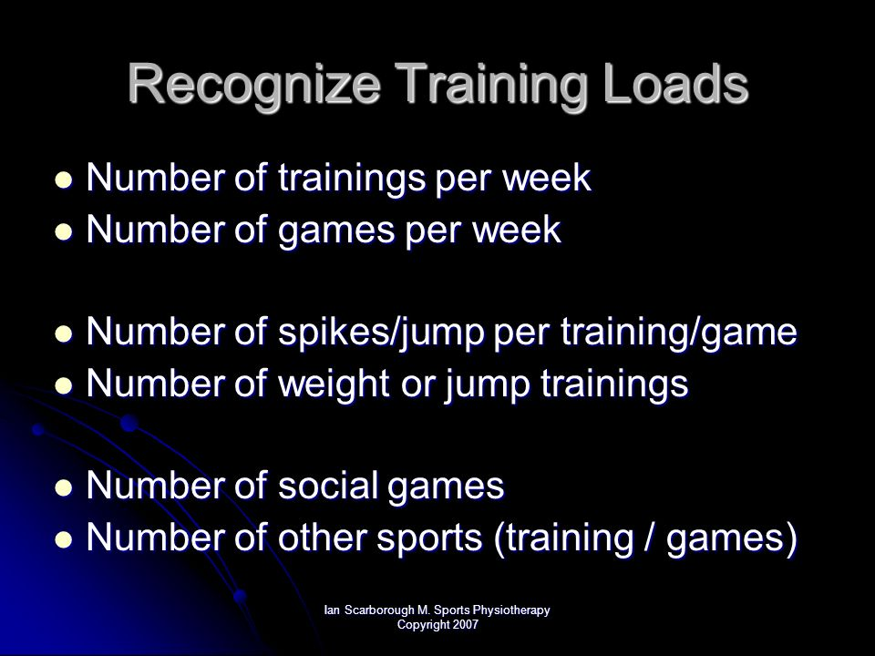 Ian Scarborough M. Sports Physiotherapy Copyright 2007 Recognize Training Loads Number of trainings per week Number of trainings per week Number of ga