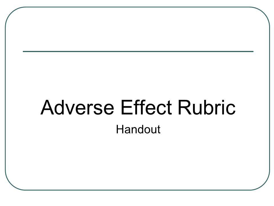 Adverse Effect Rubric Handout