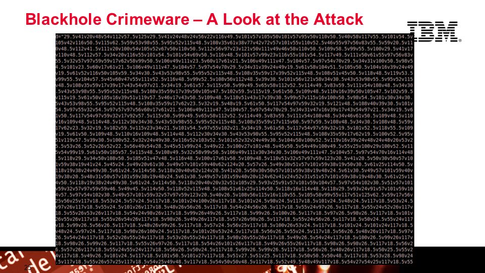 © 2009 IBM Corporation Building a smarter planet Blackhole Crimeware – A Look at the Attack 25