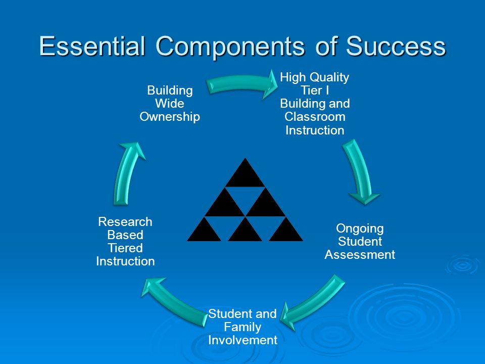 Essential Components of Success High Quality Tier I Building and Classroom Instruction Ongoing Student Assessment Student and Family Involvement Resea