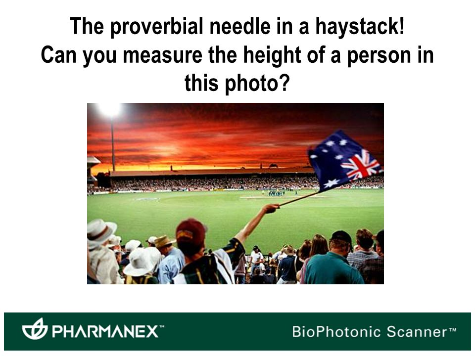 The proverbial needle in a haystack! Can you measure the height of a person in this photo?