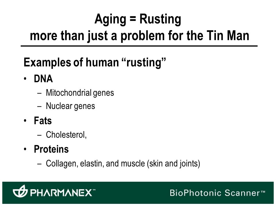 Aging = Rusting more than just a problem for the Tin Man Examples of human rusting DNA –Mitochondrial genes –Nuclear genes Fats –Cholesterol, Proteins –Collagen, elastin, and muscle (skin and joints)
