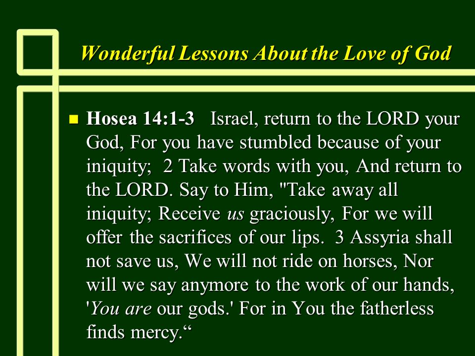 Wonderful Lessons About the Love of God n Hosea 14:1-3 Israel, return to the LORD your God, For you have stumbled because of your iniquity; 2 Take wor