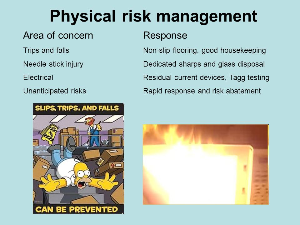 Physical risk management Area of concernResponse Trips and fallsNon-slip flooring, good housekeeping Needle stick injuryDedicated sharps and glass dis