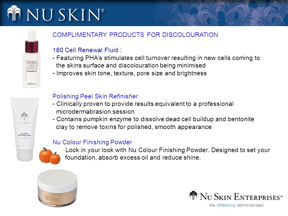 COMPLIMENTARY PRODUCTS FOR DISCOLOURATION 180 Cell Renewal Fluid : - Featuring PHAs stimulates cell turnover resulting in new cells coming to the skin
