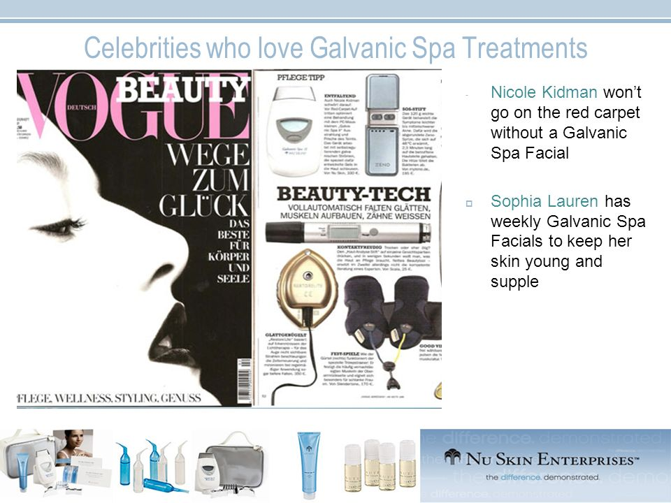 Celebrities who love Galvanic Spa Treatments - Nicole Kidman wont go on the red carpet without a Galvanic Spa Facial Sophia Lauren has weekly Galvanic