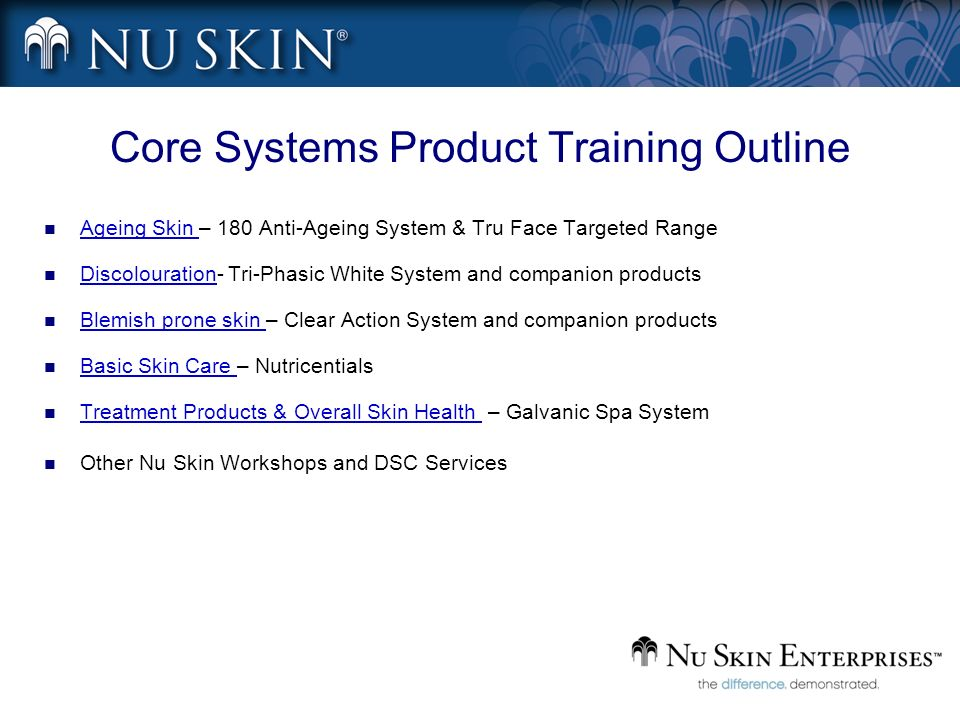Core Systems Product Training Outline Ageing Skin – 180 Anti-Ageing System & Tru Face Targeted Range Discolouration- Tri-Phasic White System and compa