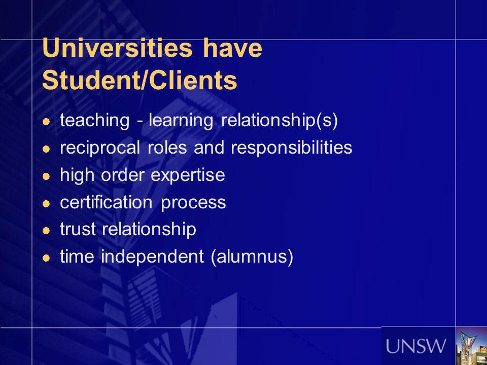 Universities have Student/Clients teaching - learning relationship(s) reciprocal roles and responsibilities high order expertise certification process
