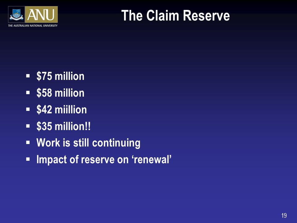 19 The Claim Reserve $75 million $58 million $42 miillion $35 million!.