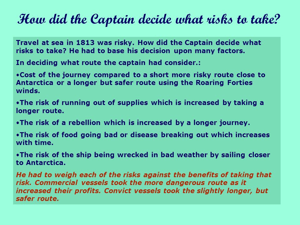 Food was a big problem, another reason to keep the journey as short as possible In England the Captain would have to make sure there was plenty of food on board.